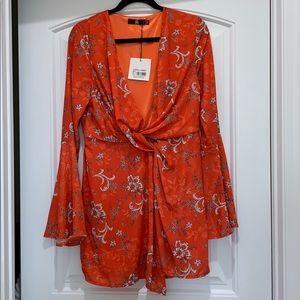 Burnt red/orange flared sleeve twist front dress